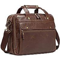 Leather Briefcases for Men Laptop Bag Messenger Bag Computer Crossbody Waterproof Vintage Handbag for Travel Business 15.6 Inch (Brown)