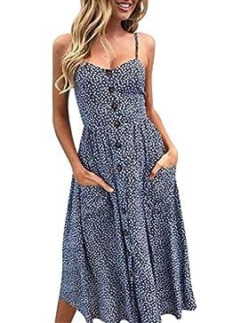 Lenfesh Moda Vestido Corto de Verano Vestidos para mujer Cintura Alta Color sólido Floral Imprimir Midi Vestido...