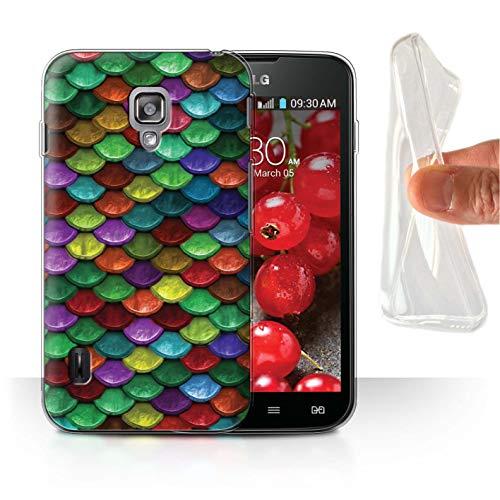 Stuff4® Gel TPU Hülle/Case für LG Optimus L7 II Dual/Lebhafte Partyfarben Muster/Aquarell Meerjungfrau Skalen Kollektion (Optimus L7 Case Lg Dual Ii)
