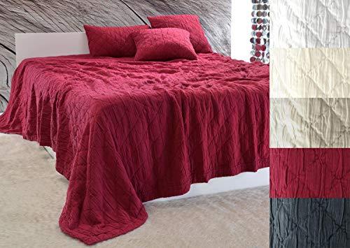 Baumwolldecken Wohnen & Accessoires Tagesdecke Aveiro - Rautenmuster - Bordeaux rot 240x260cm