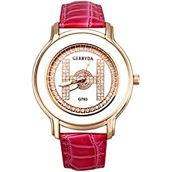Watch - GERRYDA Women Luxury Business Leisure Analog Diamond Watch Quartz Watch color:Red