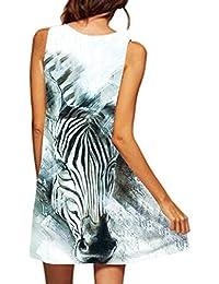 VEMOW Damenkleider Vintage Boho Frauen Sommerkleider Sleeveless Strand  Gedruckt Kurzes Minikleid Eine Linie Abendkleid Täglich beiläufige b05e8c5486