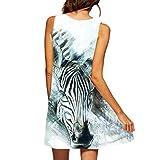 VEMOW Vintage Boho Frauen Sommerkleider Sleeveless Strand Gedruckt Kurzes Minikleid Eine Linie Abendkleid Täglich beiläufige Partei Weste T-Shirt Kleid Plus Size Rock(X1Weiß 13, EU-40/CN-S)