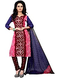 Taboody Empire Pleasing Pink Satin Cotton Handi Crafts Bandhani Work With Straight Salwar Suit For Girls And Women