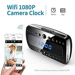 Idea Regalo - FREDI 1080P WIFI telecamera Spia Orologio-sveglia HD videocamera nascosta Mini Microcamere telecamera di sorveglianza Videocamera di Sicurezza Wireless ip camera Interno Spy Cam WIFI Fotocamera