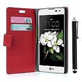 zStarLn® rot Hülle Leder Tasche für LG K7 Hülle Handytasche Zubehör Schutzhülle Etui + Stylus pen und 3 Films Schutzfolie