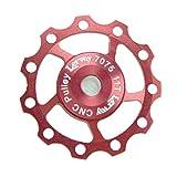 Lerway 2 Pcs Verarbeitete Aluminium AL7075 CNC Schaltwerke Schaltröllchen 11T Schaltungsrädchen Typ 06 (Rot)