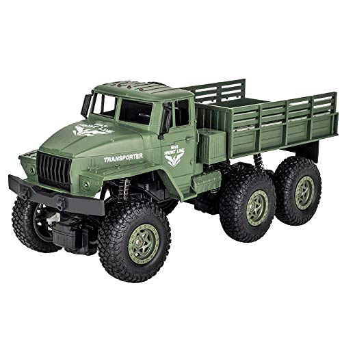 SUNFANY Remote Control Cars Q68 1: 18 2.4G Remote Control 4Wd Tracked Off-Road Military Truck Car RTR High Speed 10Km/H Racing RC Cars Off Road for Kids & Adults, 2019 Version - Grün