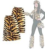 Beinstulpen, Plüsch - Stulpen, für Erwachsene, Tier - Muster, viele verschiedene Designs, große Auswahl, Accessoire, ideal für Karneval (Tiger)