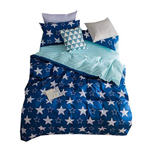 Azul Estrella Brillante Noche Ropa de Cama 105/90 Navidad Cumpleaños Bebé Niño Pequeño Niño 180x220cm Funda Nórdica con 2 Piezas Funda de Almohada (Estrella 1, 180x220cm para 105/90cm Cama)