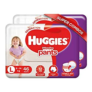 Huggies Wonder Pants Large Size Diapers Combo Pack of 2, 46 Counts Per Pack (92 Counts)