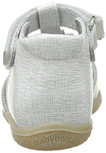 Babybotte Tutu, Sandales Bout Ouvert Fille Blanc (Blanc Paillete)