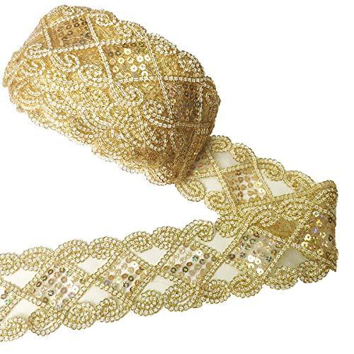 10 Yards Einfassborte Spitze mit Pailletten Lace Borte Band Applikation 9m x 5cm für DIY Kleidung Gardine Vorhang Tischläufer Deko Gold