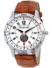 Golden Bell Original White Dial Brown Strap Analog Wrist Watch For Men - GB-876