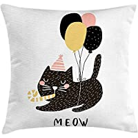 tgyew Throw Pillowcase Pillow Cover Cat Cushion, Birthday Party Feline with Balloon and Hat Hand Drawn Festive House Pet, Decorative Square Accent Case, 18 X 18 inches, Pale Pink Pale Brown Black