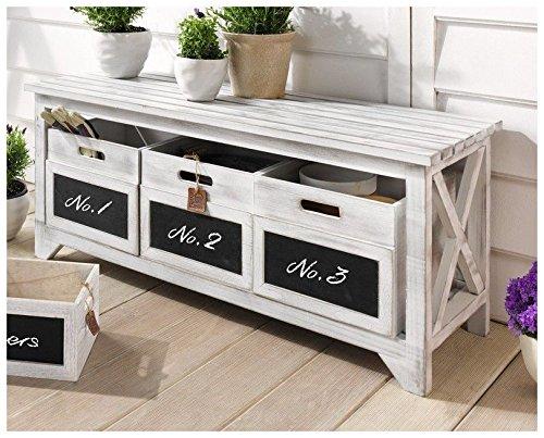"""Sitzbank """"Storage"""" mit Schubfächern, Holz, weiß"""