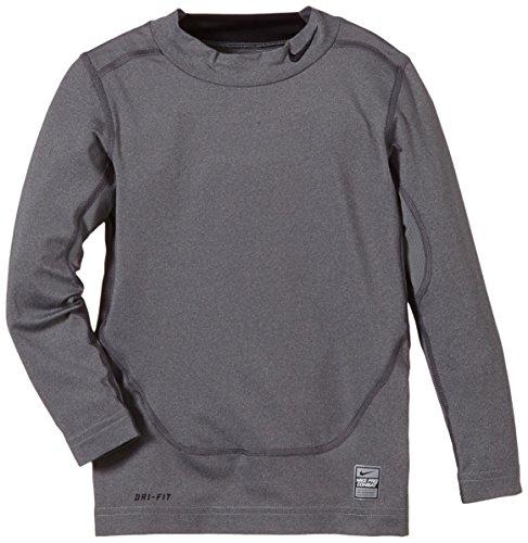Nike Jungen langarm Shirt Pro Combat Core Compression Mock Neck, Carbon Heather/Black, S, 522803-021 (Neck Mock Core)