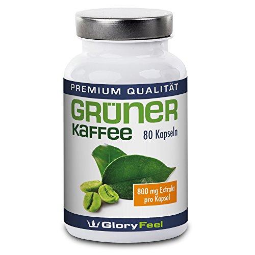 Grüner Kaffee Kapseln - Der Preis-Leistungs-Sieger 2017-1600mg Hochdosiert Original Green Coffee Extrakt + Vitamin C pro Tagesdosis - 80 Kapseln Nahrungsergänzung von GloryFeel