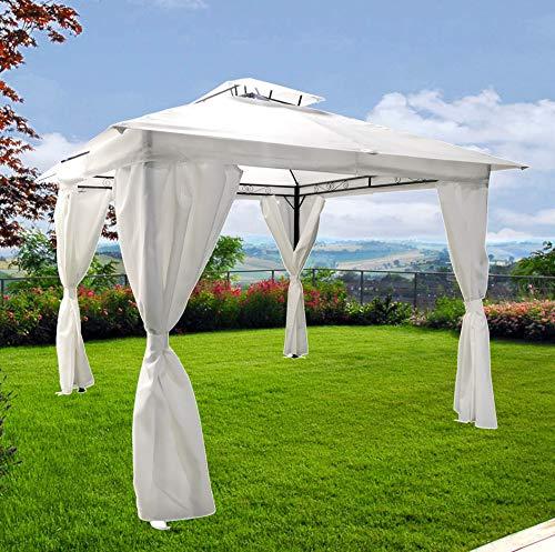 fp-tech gazebo da giardino 3x3 bianco con telo antipioggia teli antivento metallo (gazebo 3x3)