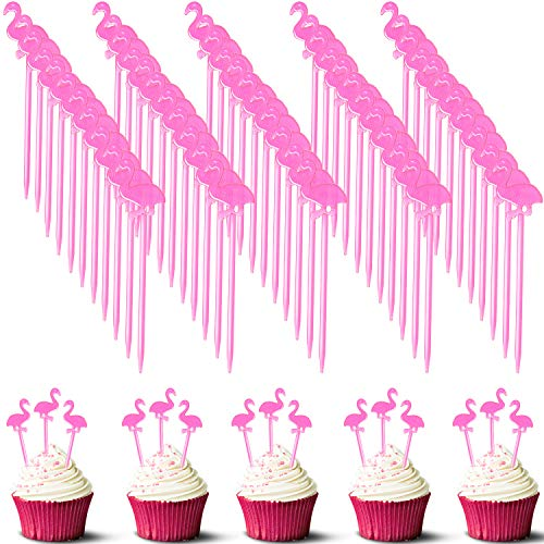 300 Stück Kunststoff Flamingo Picks Tropical Cupcake Pick Hawaiian Cocktail Zahnstocher Obstpicks Flamingo Cake Topper für Hawaiian Party Dekoration Supplies rose