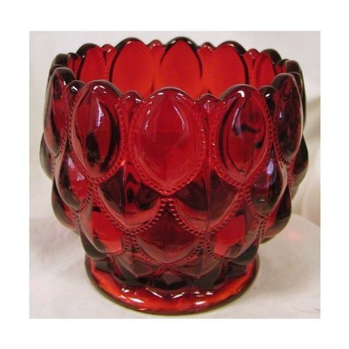 Ruby Red Glass Elizabeth Pattern Candy Dish Rose Bowl by Mosser Glass Glass Candy Dish Bowl