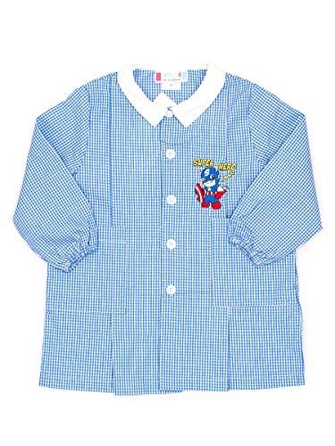 Andy&giò grembiule asilo da bambino 90003 grembiule quadri blu con disegno ricamato (quadri, 5 anni)