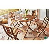 SAM® Conjunto para jardín o balcón Golstrup, mueble de madera de acacia plegable, 5 piezas, 1 mesa + 4 sillas aceitadas, vetas bonitas madera maciza certificada FSC® 100%.