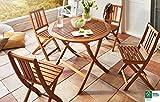 SAM® Gartengruppe Golstrup, 5tlg., Balkongruppe aus Akazienholz, FSC® 100% zertifiziert, 1 x Tisch + 4 x Stuhl, geölt, Garten-Tischgruppe, schöne Maserung, massives Holz, klappbar, Sitzgruppe aus Akazien-Holz
