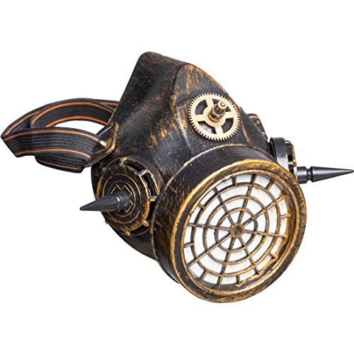 Amakando Atemschutzmaske - bronzefarben - Schutzmaske Retro-Futurismus Clockworker Accessoire Maske Cyberpunk Style Science Fiction Kostüm Zubehör Steampunk - Science-fiction Kostüme