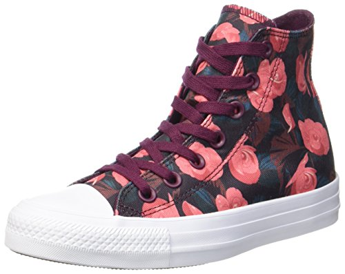 Converse 557953C,Chuck Taylor All Star, Damen Hohe Sneaker, Mehrfarbig (Dark Sangria/Pink/White), 37.5 EU (5 UK) (Damen Star All Short)