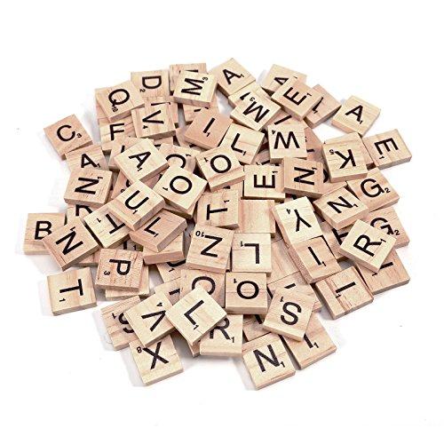 Scrabble Buchstaben mit Zahlen Holz Ersatzteile Ziegeln Spielzubehoer 110