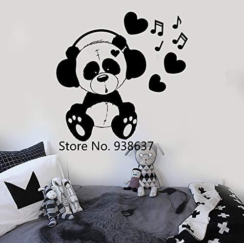 zhuziji Vinile Adesivo Orso Musica Cameretta per Bambini Adesivi murali Adesivo da Parete Rimovibile Camera da Letto Colori Personalizzati Disponibili 63x64,5 cm