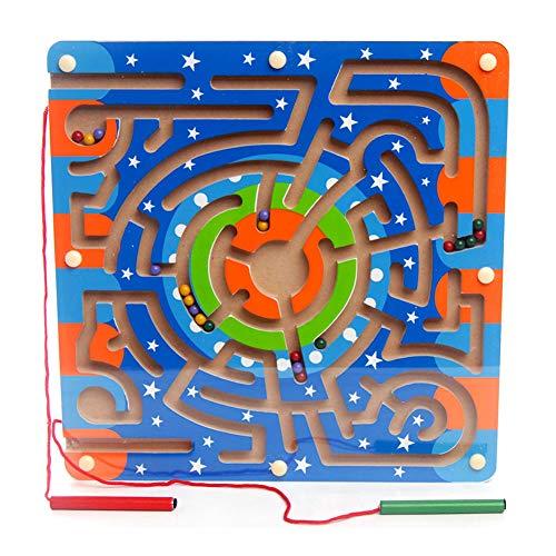 SHENSHOU Magnetic Pen Labyrinth Holz Früherziehung Puzzle Maze Rolling Perlen Spielzeug Geeignet Für Kinder 2-6 Jahre Alt,Ring (Ring Puzzle Snake)
