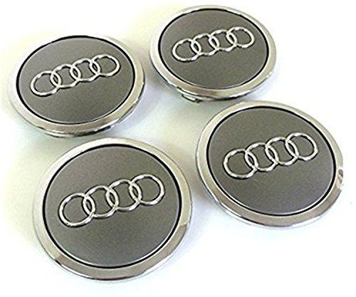 Set of Four Audi Alloy Wheels Centre Hub Caps Grey Covers Badge 69 mm 8t0 601 170 a Fits Audi Juego de cuatro Llantas Center Tapacubos Gris/Cromo protectora ...