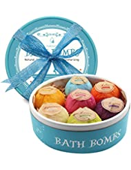 PURENJOY Bath Bombs Gift Set, 7pcs Fizzies Spa Kit Perfect for Moisturizing Skin, Birthday Valentines Mothers Day Anniversary Christmas Best Gifts Ideas for Women, Wife, Girlfriend, Mom, Her