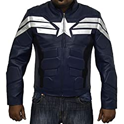 Capitán América Soldado de Invierno Chaqueta de piel sintética de color azul oscuro mejor regalo de Navidad azul azul XL