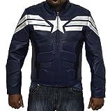 Kunstleder-Jacke, Design Captain America The Return of the First Avenger, Dunkelblau, Geschenkidee zu Weihnachten Gr. M, blau