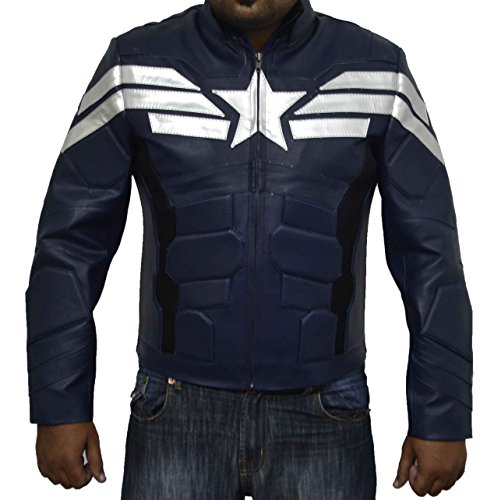 Evans Captain Kostüm Chris America - Kunstleder-Jacke, Design Captain America The Return of the First Avenger, Dunkelblau, Geschenkidee zu Weihnachten Gr. XL, blau