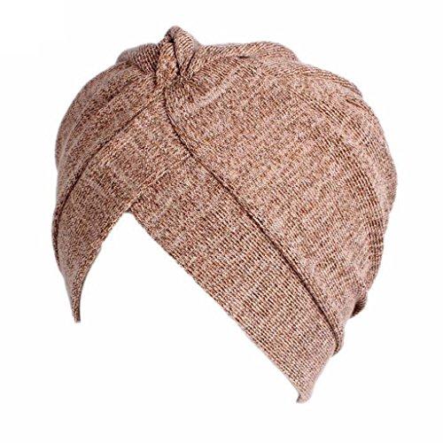 Misright Frauen muslimische Kopftuch Indische Turban-Hüte Turbanmütze Kopfbedeckung Schlafmütze für Haarverlust, Chemo, Krebs Cap Chemotherapie (khaki)