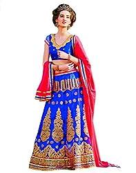 DesiButik Net Lehenga Choli (LGJ1656_Blue_Free Size)