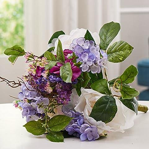 qwer Continental mano púrpura corbata Uniteds emulación FLORES ARTIFICIALES flores ramos de novia de flores de seda para casarse decoradas manos flores , 1 lazo