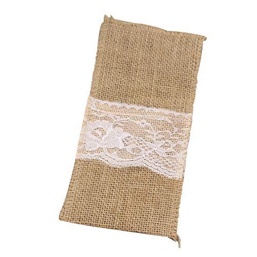 10 stücke Besteck Tasche, Picknick Besteck Gabel Löffel Tasche Spitze und Leinen Halter Verpackung für Hochzeit Esstisch Dekoration, (10 * 21 cm) 08 Gabeln