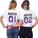 JWBBU Best Friends Sister Shirts für Zwei Mädchen Damen Shirt Sommer Oberteil Tshirts BFF Geburtstagsgeschenk 2 Stücke Symbolische Freundschaft(Weiß+Weiß,Sister-01-M+02-M)