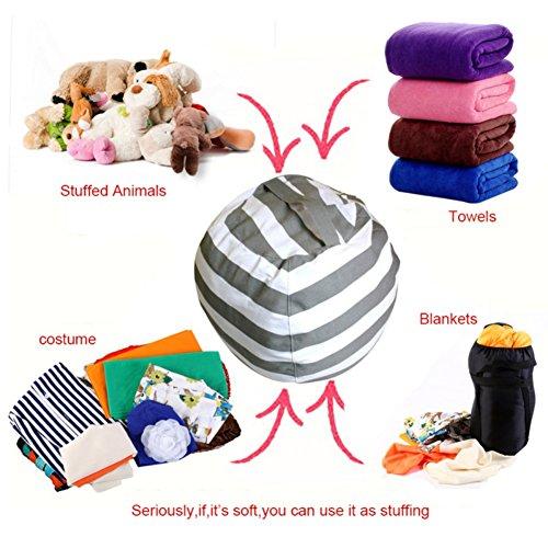 Handfly moderne Lagerung gefüllte Tier Lagerung Bohnen Tasche Streifen Stoff Stuhl tragbare Kinder Spielzeug Aufbewahrungstasche Plüsch Spielzeug Kleidung Quilts Organizer