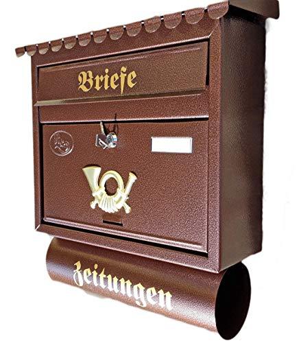 Großer Briefkasten / Postkasten XXL Kupfer / Bronce / Braun mit Zeitungsrolle Flachdach Katalogeinwurf Zeitungsfach