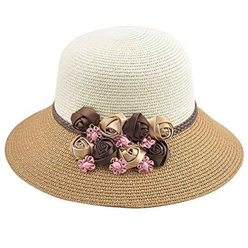 iKulilky Damen Strohhut Floppy Beach Cap Outdoor Sonnenhut Breiter Krempe Bucket Hat Sommer Sonnenblende