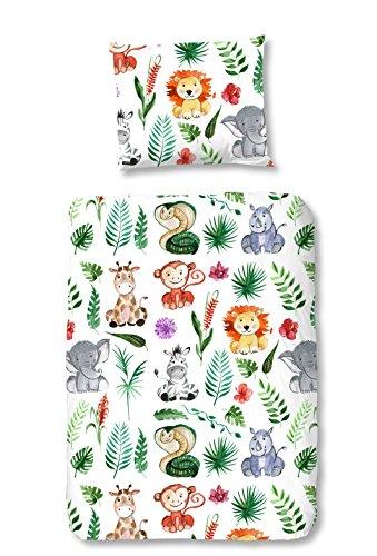 Aminata Kids Baby-Bettwäsche-Set Zoo-Tiere Safari 100-x-135-cm Jungen, Mädchen - Baumwolle - weiß, grün, bunt - weiches Material, kräftige Farben, Marken-Reißverschluss & Öko-Tex (Safari-baby-bettwäsche Mädchen)