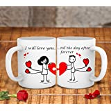 TIED RIBBONS I Will Love You Till The After Forever Printed Ceramic Coffee Mug (325ml, White) - Set Of 2
