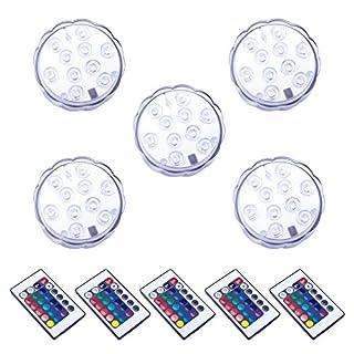 5pcs Unterwasserlicht, ALED LIGHT Unterwasser LED Licht mit Fernbedienung, Wasserdichtes LED Unterwasserlicht Multi Farbwechsel, 10-LED RGB Wasserdicht LED Lichter für Vase Basis Aquarium Teich