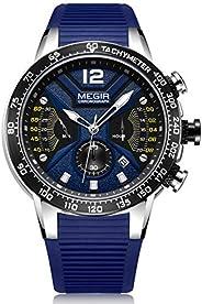 Megir Mens Quartz Watch, Chronograph Display and Silicone Strap - 2106G